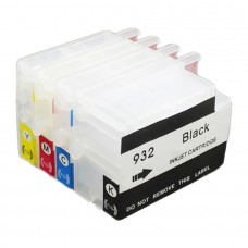 A set of HobbyPrint® compatible HP932 & HP933 refillable ink cartridges with auto reset chips.