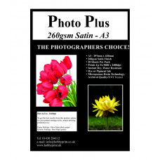 PhotoPlus Photo Paper A3 Premium Satin 260gsm - 20 Sheet Pack