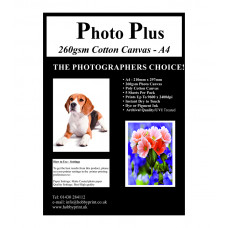 Photo Plus Printable Poly-Cotton Canvas A4 - 260gsm, 5 Sheets.